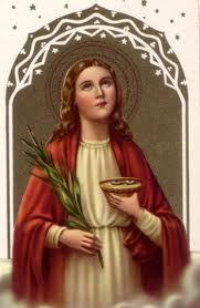 St. Lucy Holding the Eyes that were Pulled Out (http://latinmasses.ca/st-lucy.htm)